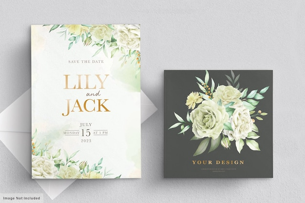 그린 꽃으로 설정 웨딩 카드 무료 벡터