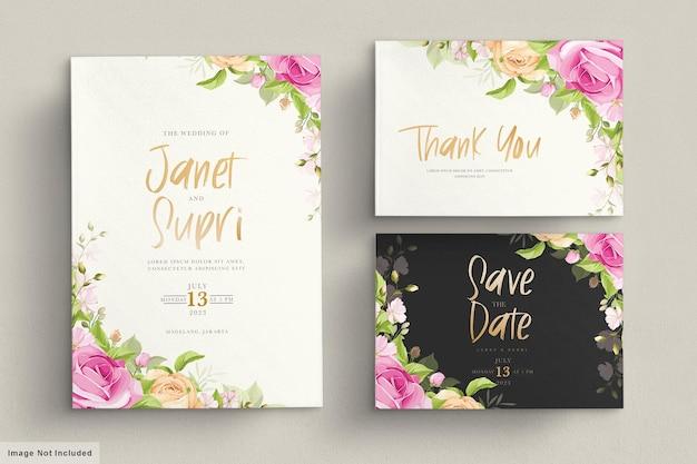 부드러운 핑크 장미와 웨딩 카드 세트 무료 벡터