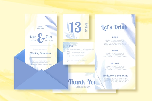 Wedding Card Template Collection On Yellow Background Vector