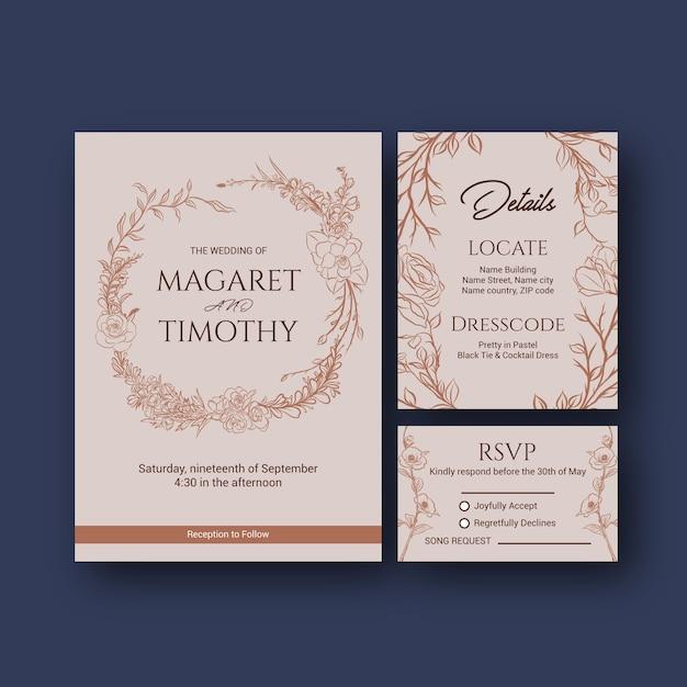 초대 및 결혼 벡터 일러스트 레이 션에 대 한 웨딩 카드 템플릿 디자인. 무료 벡터