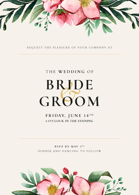 Wedding card template design Free Vector