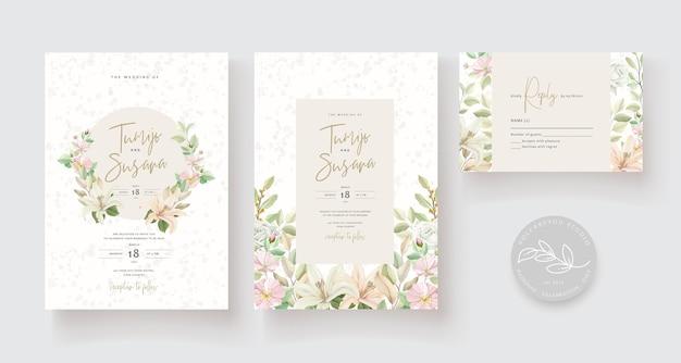 웨딩 카드 템플릿 꽃 디자인 무료 벡터