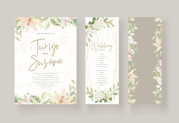 Wedding card template floral design Free Vector