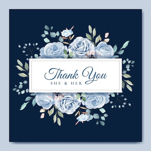Wedding card template with beautiful blue floral wreath Premium Vector