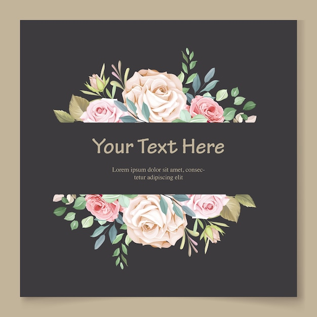 Wedding card template with beautiful floral wreath Premium Vector