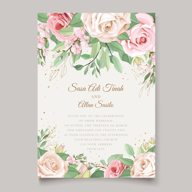 Wedding card template with beautiful floral wreath Free Vector