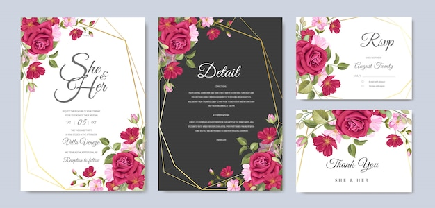 Wedding card template with beautiful flower and leaves frame Premium Vector