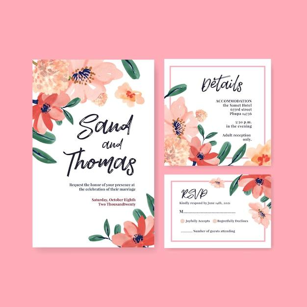 Шаблон свадебной открытки с цветочной кистью для приглашения и жениться на акварели Бесплатные векторы