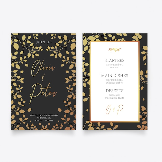 Wedding card template with golden flowers Free Vector