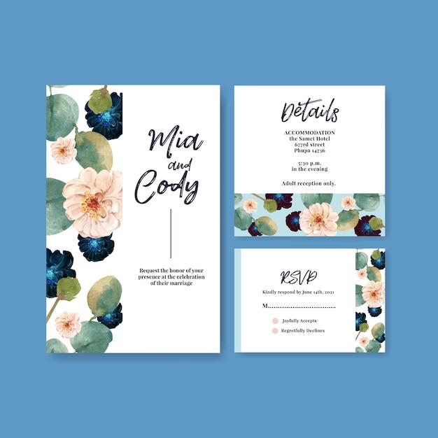 Modello di carta di nozze con amore fioritura concept design illustrazione dell'acquerello Vettore gratuito