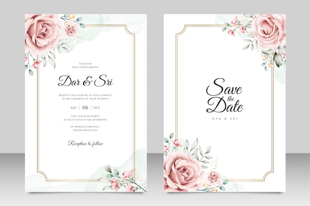 Wedding card template with minimalist floral watercolor Premium Vector