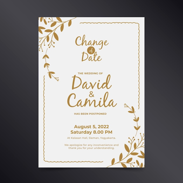 Wedding card template with postponed date Free Vector