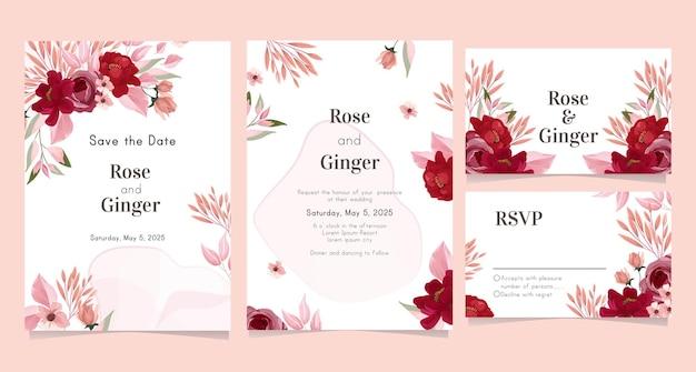 예쁜 꽃과 웨딩 카드 서식 파일 프리미엄 벡터