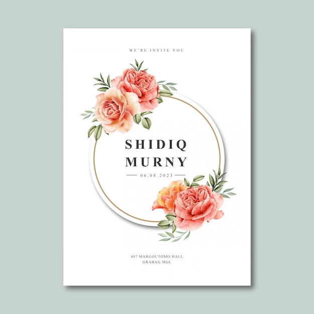 wedding card template with wreath frame watercolor