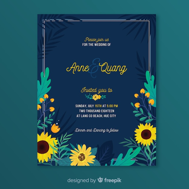 Wedding card template Free Vector