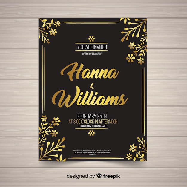 wedding card template vector free download