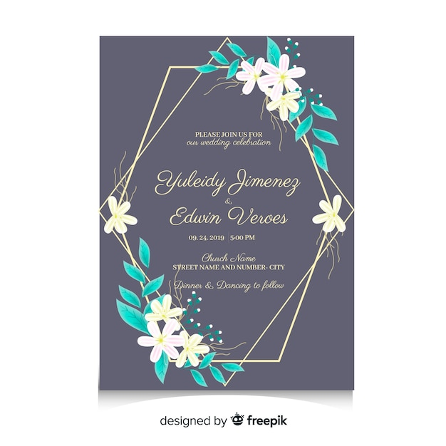 free vector  wedding card template