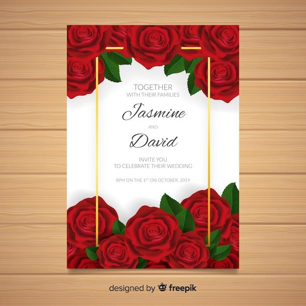 Wedding card template Free Vector