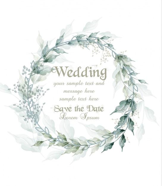 Wedding card watercolor green leaves wreath Premium Vector