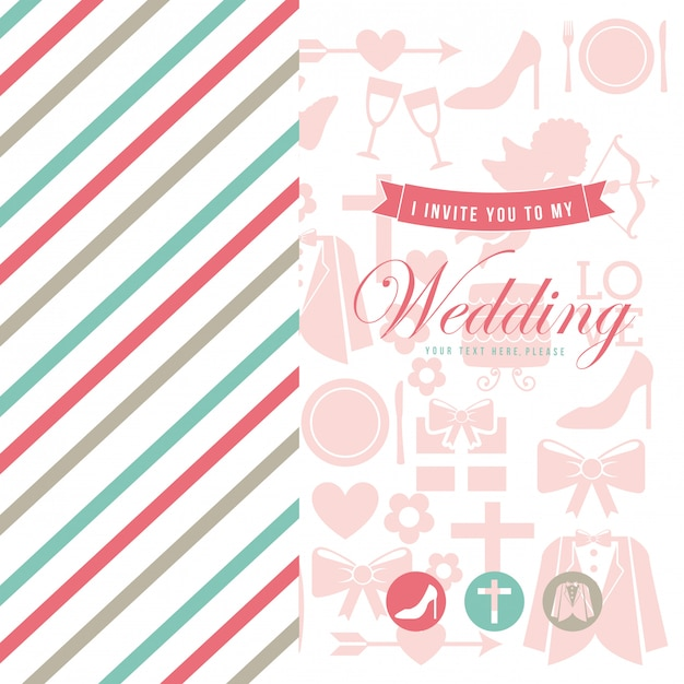 Wedding card over white background vector illustration Premium Vector