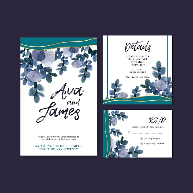 Wedding card with autumn flower concept design for  template and invitation card Free Vector