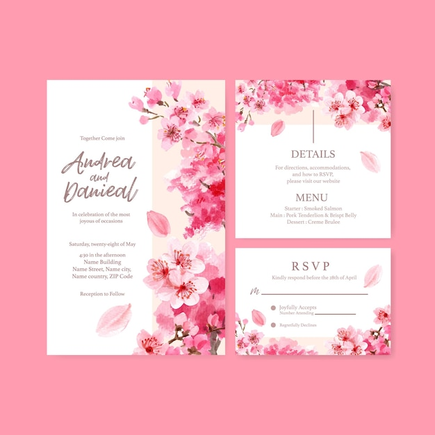 Wedding card with cherry blossom concept design watercolor illustration Free Vector