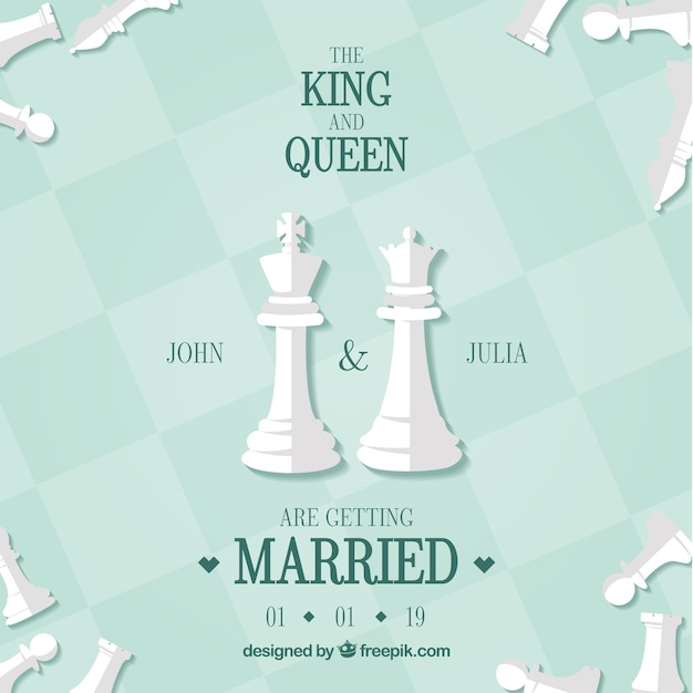 Wedding card with chess pieces Free Vector