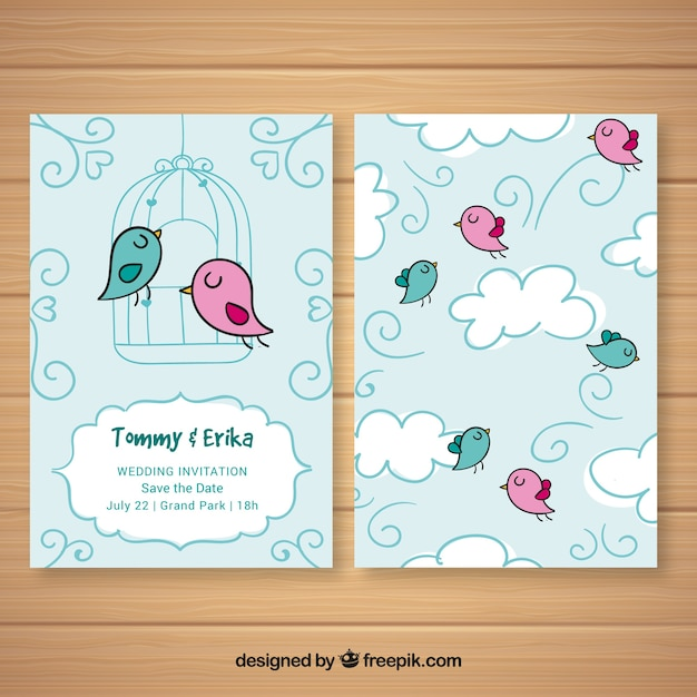 Wedding card with colorful birds