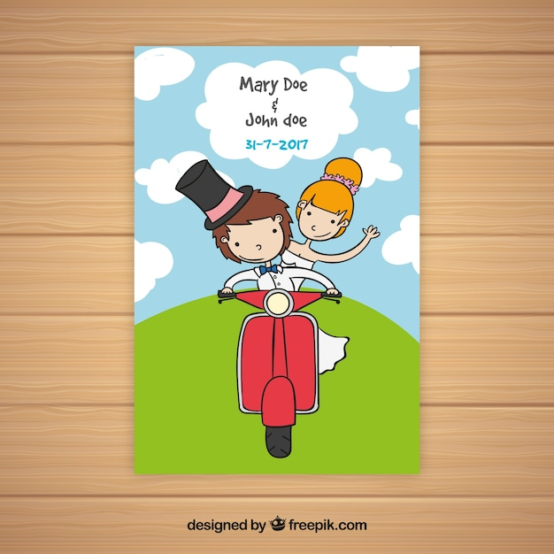 Wedding card with couple on a motorcycle