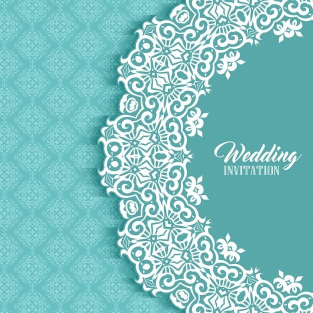 Wedding card with a cute ornamental frame Free Vector