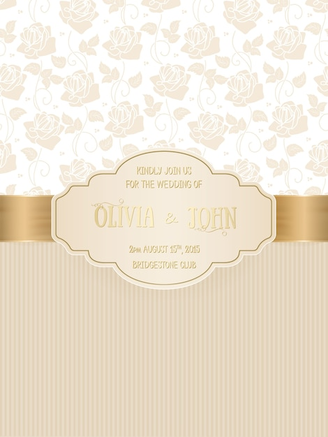 Свадебная открытка с дамасской и элегантными цветочными элементами Бесплатные векторы