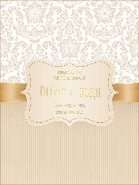 Wedding card with damask and elegant floral elements. Free Vector