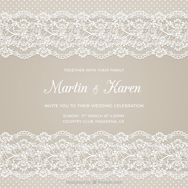Wedding Card With Embroidery Vector Free Download