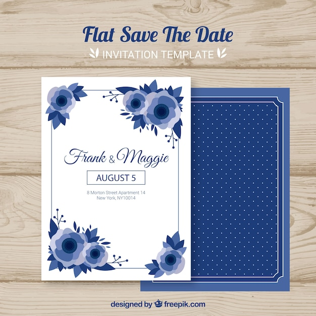 Wedding card with flat flowers Free Vector
