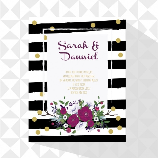 Wedding card with floral decoration Free Vector