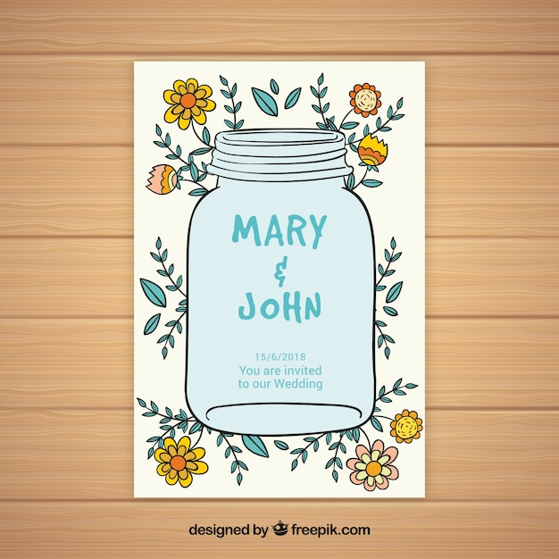 Wedding card with floral elements sketches Free Vector