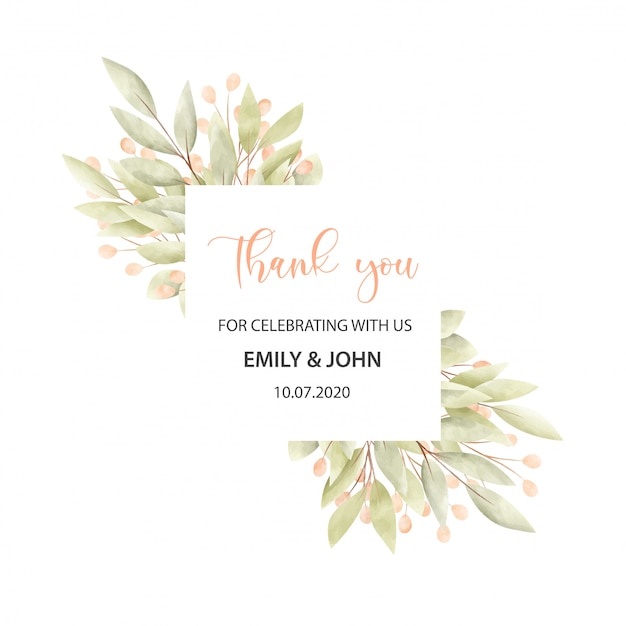 Wedding card with floral frame Free Vector