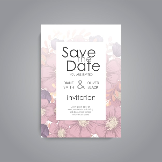 Wedding card with flower rose Free Vector