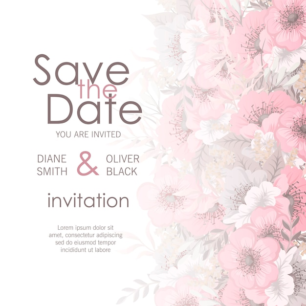 Wedding card with flower Free Vector