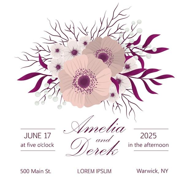 Wedding card with flower Premium Vector
