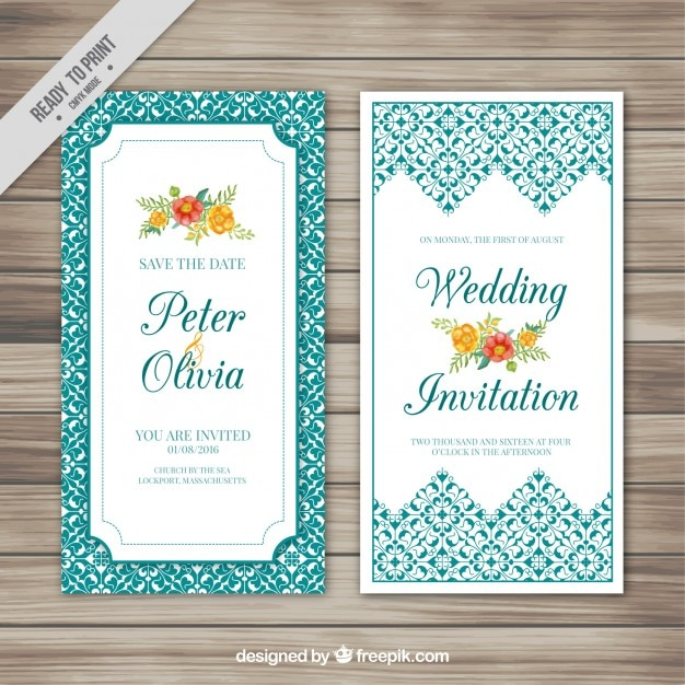 Wedding card with flowers and ornaments Free Vector