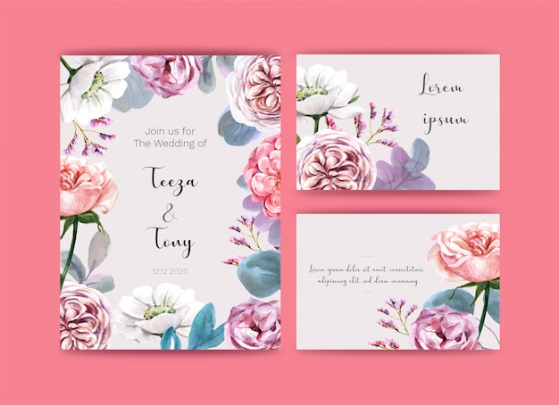 Wedding card  with flowers. Premium Vector