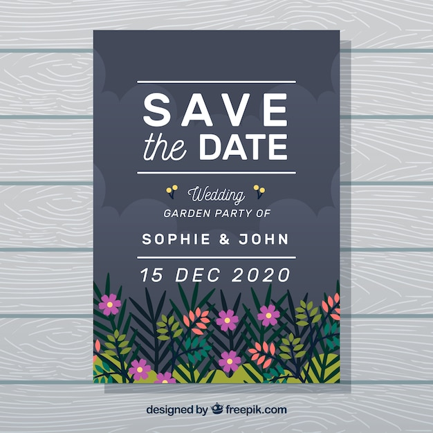 Wedding card with garden and night sky Free Vector