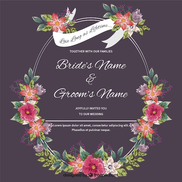 Wedding card with hand-drawn floral detail Free Vector