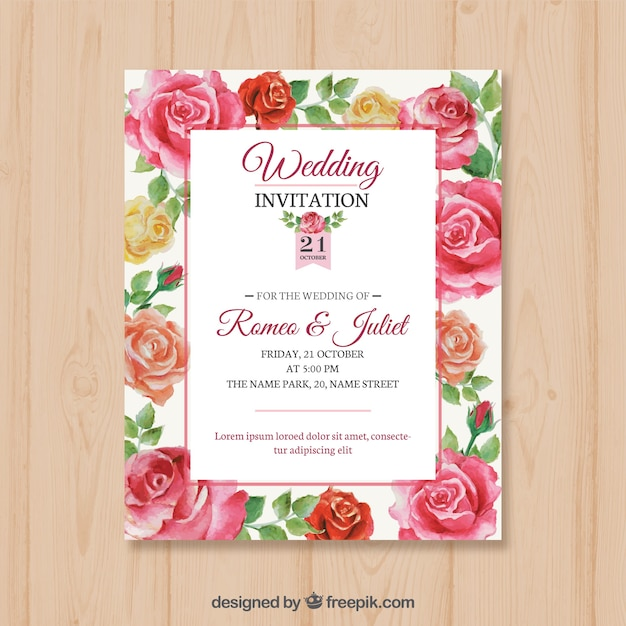 Wedding card with hand drawn roses vector free download wedding card with hand drawn roses free vector stopboris Image collections