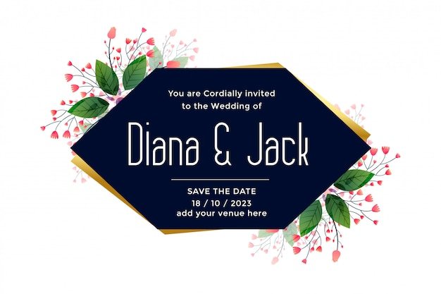 Wedding card with leaves and flower decoration Free Vector