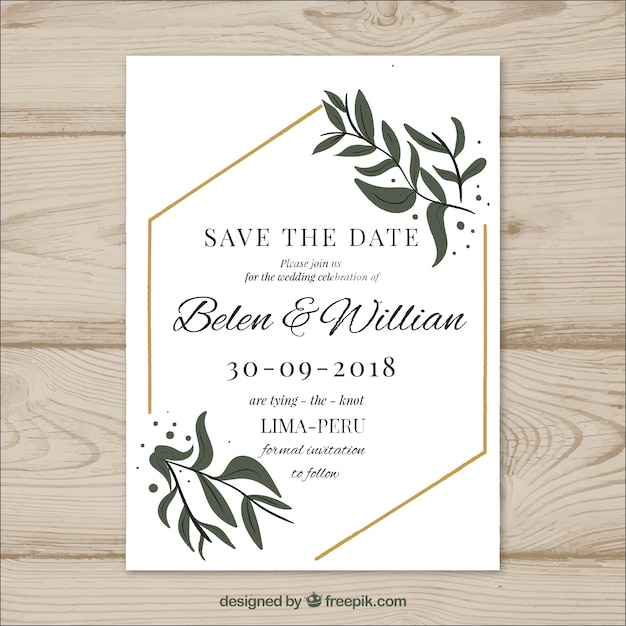 Invitation Wedding Card: Wedding Card With Modern Leaves Vector