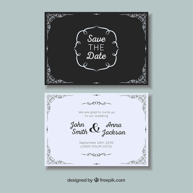 Wedding card with ornaments Free Vector