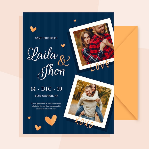 Wedding card with photo of engaged couple Free Vector