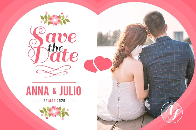 Wedding card with photo with bride and groom Free Vector
